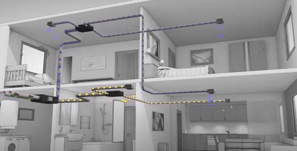 A hővisszanyerős szellőztető rendszer az elhasználódott levegőt a vizes helyiségekből szívja el.